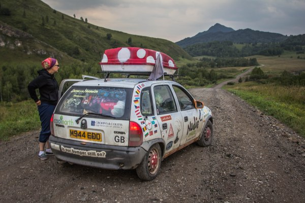 On the road in Siberia during The Mongol Rally. Photo by Scott Joseph, Travelstache