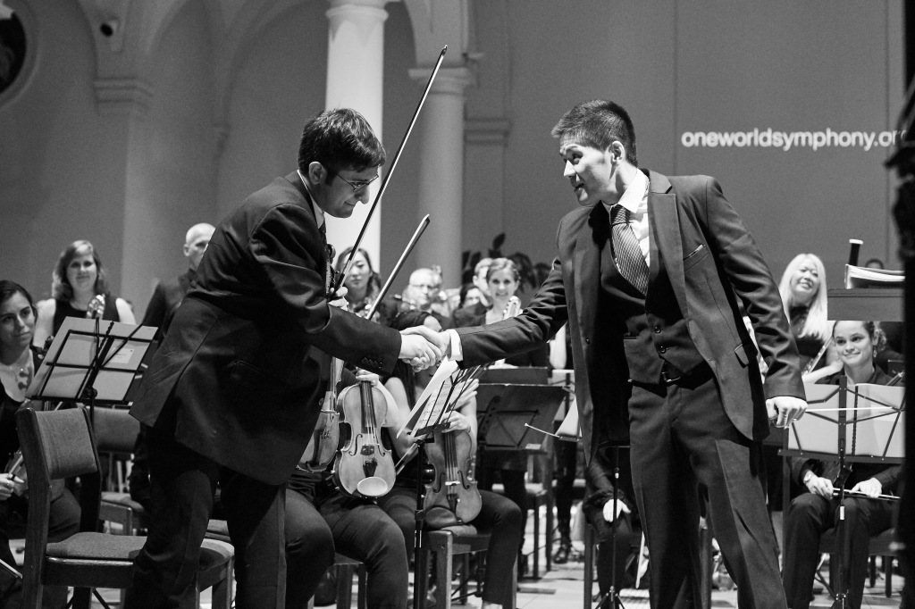 Sung Jin Hong expresses his gratitude towards One World Symphony and its concertmaster Michael Mandrin